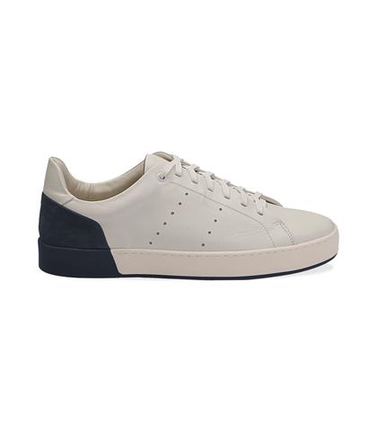 Sneakers bianche in pelle con tallone blu in camoscio, Scarpe, 1198T5841PEBIBL040, 001