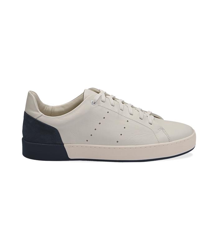 Sneakers bianche in pelle con tallone blu in camoscioScarpe, 1198T5841PEBIBL040