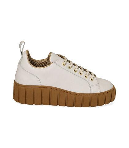 Sneakers bianche in pelle, zeppa 5 cm, Valerio 1966, 18L6T2005PEBIAN035, 001