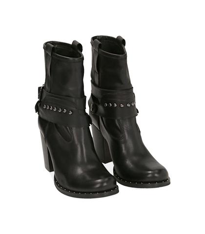 Ankle boots neri in pelle , Valerio 1966, 10A2T0743PENERO035, 002