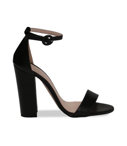 Sandali neri in pelle, tacco a colonna 10,50 cm, DONNA, 13D6T0707VINERO036, 001