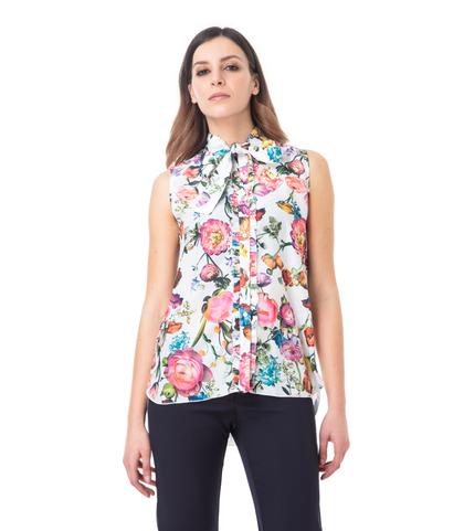Camicia bianca fiorata, Abbigliamento, 13T8T1237TFBIANL, 002