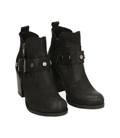Ankle boots con fibbia neri in nabuk , Scarpe, 1256T0066NBNERO035, 002