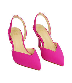 Slingback fucsia in lycra, tacco 8,5 cm , Valerio 1966, 1721T6282LYFUCS035, 002 preview