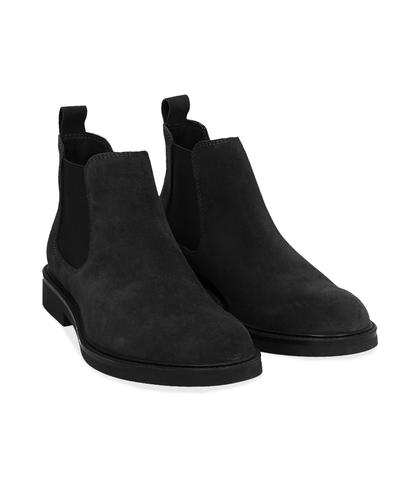 Chelsea boots neri in camoscio , UOMO, 16D4T1123CMNERO039, 002
