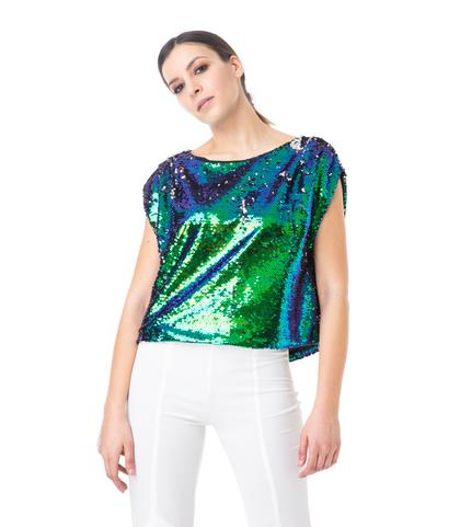 Top verde in paillettes, Abbigliamento, 13T8T0030PLVERDL, 002