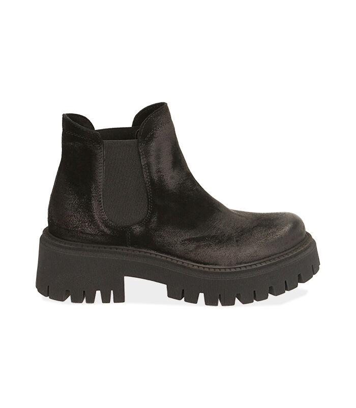 Chelsea boots neri in camoscio, tacco 5,5 cm, Valerio 1966, 1872T4438CMNERO035