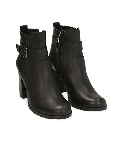 Ankle boots neroìi in pelle , Scarpe, 1087T0001PENERO035, 002
