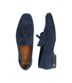 Mocassini blu in camoscio, con nappina, UOMO, 1198T2337CMBLUE040, 003 preview