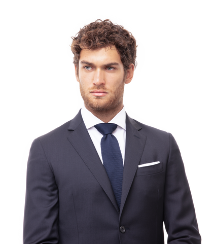 Cravatta blu in cotone con fondo dritto, Accessori, 11I9T0024TSBLUEUNI, 002
