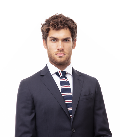 Cravatta blu in cotone con fondo dritto, Accessori, 11I9T0028TSBLUEUNI, 002