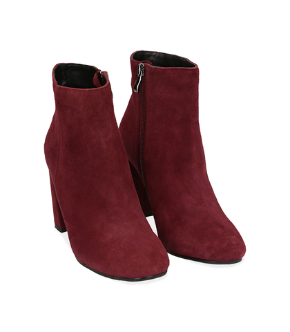 Ankle boots bordeaux in camoscio , Valerio 1966, 1095T0016CMBORD035, 002