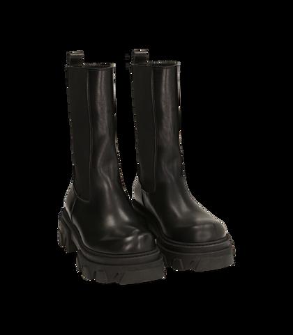 Chelsea boots neri in pelle vitello, tacco 5,50 cm , 16A5T2038VINERO035, 002