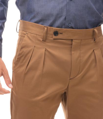 Pantaloni cuoio in twill con due pinces, Abbigliamento, 13T2T6100TSCUOI44, 002