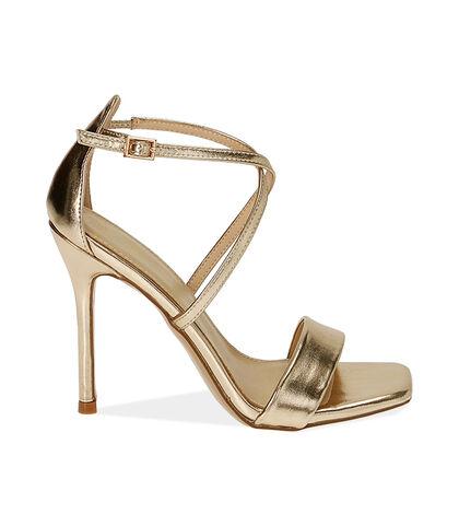 Sandali oro laminato, tacco 10,5 cm , Valerio 1966, 1721T4215LMOROG035, 001