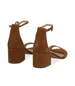 Sandali cuoio in camoscio, tacco chunky 5,50 cm, DONNA, 13D6T0807CMCUOI036, 004 preview
