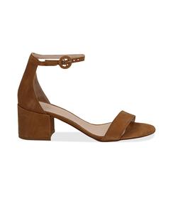 Sandali cuoio in camoscio, tacco chunky 5,50 cm, DONNA, 13D6T0807CMCUOI036, 001 preview