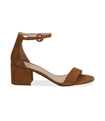 Sandali cuoio in camoscio, tacco chunky 5,50 cm, DONNA, 13D6T0807CMCUOI036, 001