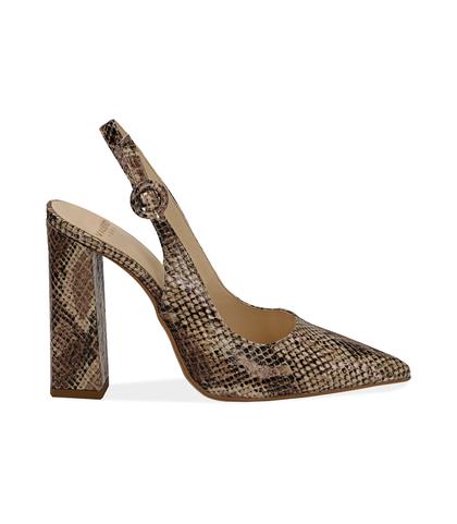 Slingback beige in eco-pelle snake print, DONNA, 1387T3304PTBEIG036, 001