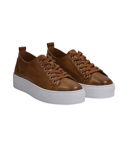 Sneakers cuoio in pelle, Valerio 1966, 1577T0412PECUOI035, 002