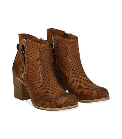 Ankle boots cuoio in nabuk con punta arrotondata, tacco 7 cm, Valerio 1966, 1156T0289NBCUOI036, 002