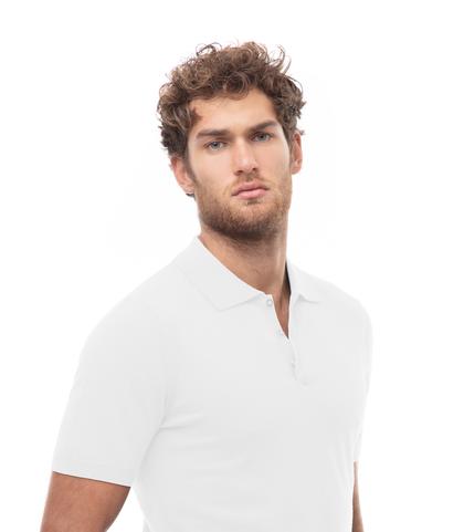 Polo basic bianca in cotone, Abbigliamento, 13T4T2003TSBIAN48, 002