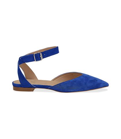 Slingback flat blu cobalto in camoscio, SUMMER PRICE, 13D6T2205CMBLCO036, 001