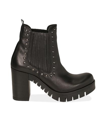 Ankle boots con borchie neri in nabuk , Valerio 1966, 1256T0037NBNERO035, 001