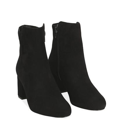 Ankle boots neri in camoscio , Valerio 1966, 14D6T1101CMNERO035, 002