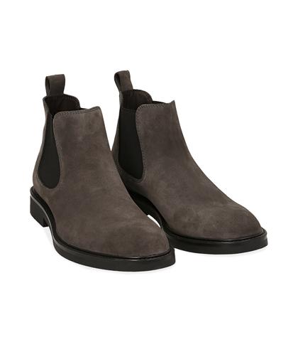 Chelsea boots grigi in camoscio , UOMO, 16D4T1123CMGRIG039, 002