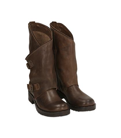 Biker boots marroni in pelle , Scarpe, 1056T0059PEMARR035, 002
