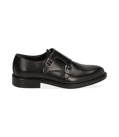 Scarpe doppia fibbia nere in pelle abrasivata, Scarpe, 12C3T5425APNERO039, 001