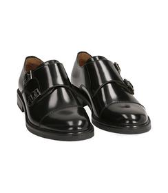 Scarpe doppia fibbia nere in pelle abrasivata, SALDI UOMO, 1577T0606APNERO043, 002 preview
