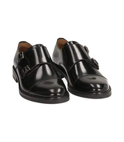 Scarpe doppia fibbia nere in pelle abrasivata, UOMO, 1577T0606APNERO039, 002