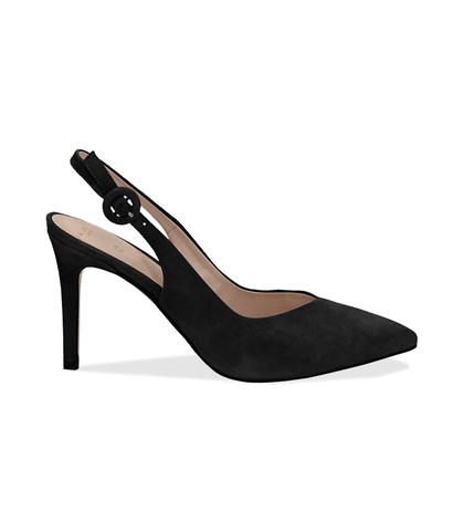 Slingback nere in camoscio, tacco 9 cm, Scarpe, 13D6T1002CMNERO036, 001