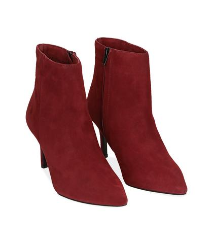 Ankle boots bordeaux in camoscio , Scarpe, 12D6T8502CMBORD035, 002