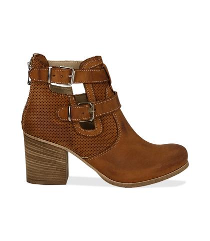 Ankle boots cuoio in nabuk con cinturini, tacco 7 cm, Valerio 1966, 1156T1601NBCUOI036, 001