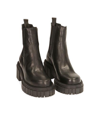 Chelsea boots neri in pelle, tacco 6 cm , Valerio 1966, 1856T9302PENERO035, 002