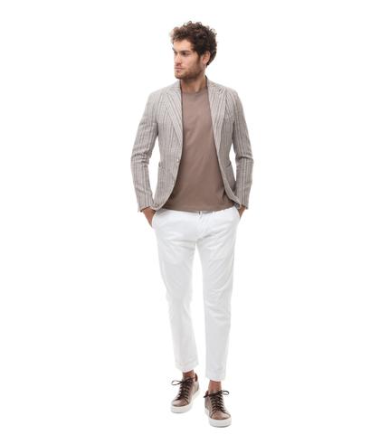 Giacca beige in cotone e lino, doppiopetto, Abbigliamento, 13T1T3003TSBEIG46, 001