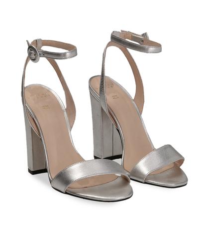 Sandali argento con cinturino alla caviglia, Scarpe, 13D6T0703LMARGE035, 002
