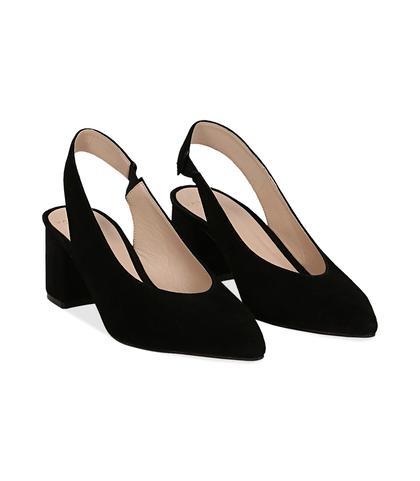 Slingback nere in camoscio, tacco 6 cm, DONNA, 13D6T2202CMNERO036, 002