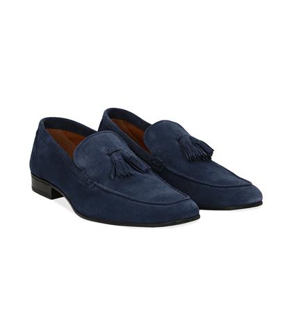 Mocassini blu in camoscio, con nappina, UOMO, 1198T2337CMBLUE040, 002
