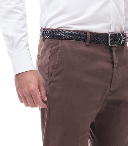 Pantaloni marroni in lino e cotone, Abbigliamento, 13T2T6300TSMARR44, 002