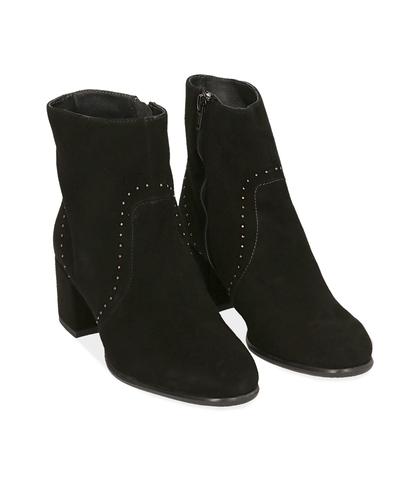Ankle boots neri in camoscio , Scarpe, 1277T2103CMNERO035, 002