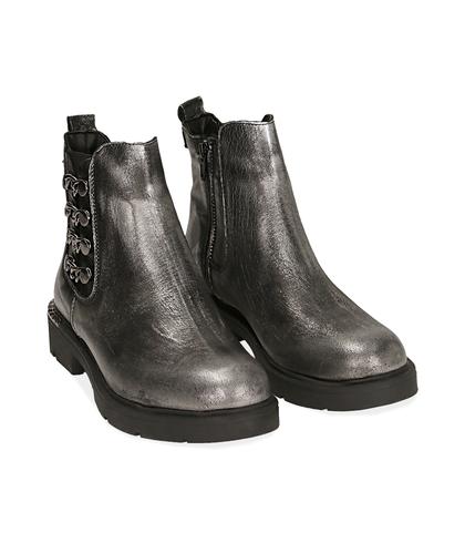 Ankle boots con catene canna di fucile in laminato , Valerio 1966, 1007T0006LMCANN035, 002