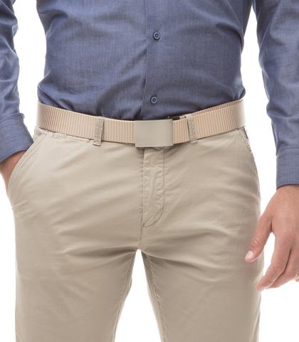Cintura beige in tessuto intrecciato con fibbia a placca, Accessori, 11F8T0101NYBEIGUNI, 002