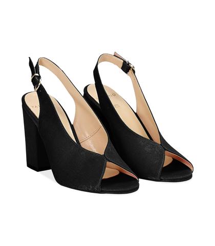Slingback open toe nere in raso, tacco 9 cm , SUMMER PRICE, 13A4T7505RSNERO036, 002