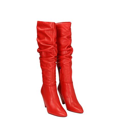 Stivali rossi in pelle con tacco a cono, Scarpe, 12D6T3914VIROSS035, 002