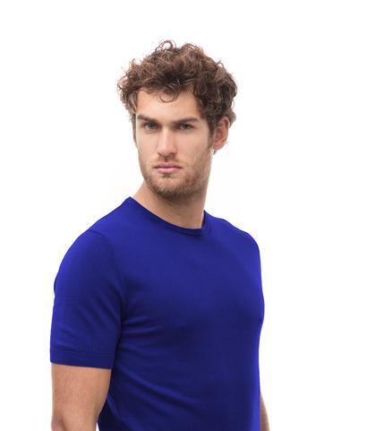 Maglioncino girocollo azzurro in cotone, Abbigliamento, 13T4T2353TSAZZU48, 002