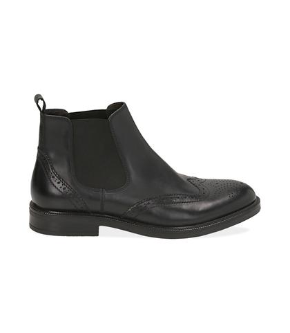 Chelsea boots neri in vitello con lavorazione Duilio, Scarpe, 1477T0609VINERO039, 001